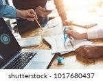 work meeting process. team of... | Shutterstock . vector #1017680437