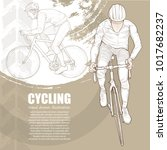illustration of cycling. hand... | Shutterstock .eps vector #1017682237