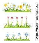 set of spring april flowery... | Shutterstock .eps vector #1017683653