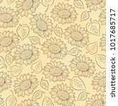 Sunflower Line Vector Seamless...
