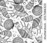 seamless pattern of decorative...   Shutterstock . vector #1017686323