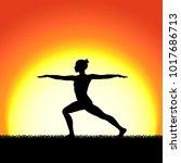 yoga virabhadraasana pose black ... | Shutterstock .eps vector #1017686713