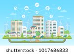 eco friendly city   modern flat ... | Shutterstock .eps vector #1017686833