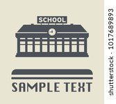 school building icon or sign ... | Shutterstock .eps vector #1017689893
