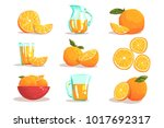 oranges and orange juice cool... | Shutterstock .eps vector #1017692317