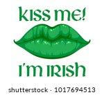 kiss me i'm irish message... | Shutterstock .eps vector #1017694513