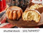 delicious sweet rum baba cake...   Shutterstock . vector #1017694957