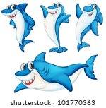 illustraiton of comical shark...