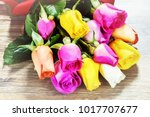 bouquet of multicolor roses... | Shutterstock . vector #1017707677