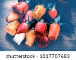 bouquet of multicolor roses in... | Shutterstock . vector #1017707683