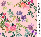 seamless  spring watercolor... | Shutterstock . vector #1017716353