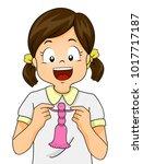 illustration of a kid girl...   Shutterstock .eps vector #1017717187