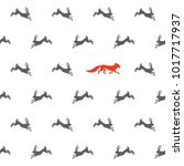 fox and hares seamless pattern.   Shutterstock .eps vector #1017717937