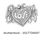 love lettering on a heart shape. | Shutterstock .eps vector #1017734047