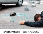 victim of a fatal car accident. ... | Shutterstock . vector #1017739057
