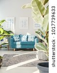 turquoise sofa with patterned... | Shutterstock . vector #1017739633