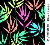 tropical leaves  jungle pattern.... | Shutterstock .eps vector #1017741187