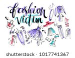 hand drawn vector lettering.... | Shutterstock .eps vector #1017741367