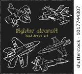 fighter aircraft vintage... | Shutterstock .eps vector #1017744307