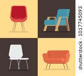 set of furniture isolated... | Shutterstock .eps vector #1017745093