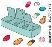 vector set of pill box | Shutterstock .eps vector #1017747643
