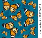 Monarch butterflies on blue background - stock vector