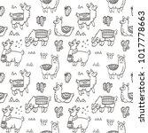cute outline seamless pattern... | Shutterstock .eps vector #1017778663