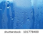 texture of water drops on glass - stock photo
