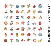 collection of objects and... | Shutterstock .eps vector #1017786157