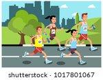 marathon run on the road ... | Shutterstock .eps vector #1017801067