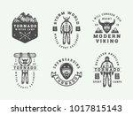 set of vintage snowboarding ... | Shutterstock .eps vector #1017815143