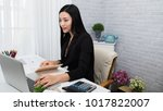 young asian woman working at a...   Shutterstock . vector #1017822007