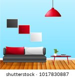 living room with furniture.... | Shutterstock . vector #1017830887