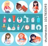 breastfeeding and children  set ...   Shutterstock .eps vector #1017835093