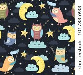 good night seamless pattern... | Shutterstock .eps vector #1017835933