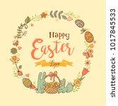 cute easte festive frame for... | Shutterstock .eps vector #1017845533