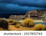 lone rock beach lake powell in... | Shutterstock . vector #1017852763