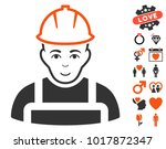 worker pictograph with bonus... | Shutterstock .eps vector #1017872347