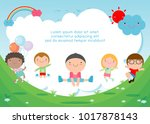 kids jumping on the playground  ... | Shutterstock .eps vector #1017878143