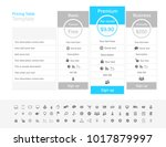 pricing table with 3 plans and... | Shutterstock .eps vector #1017879997