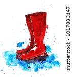 illustration with red rubber... | Shutterstock . vector #1017883147