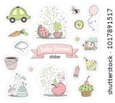 set of baby shower stickers.... | Shutterstock .eps vector #1017891517