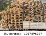 wooden pallets on a truck ...   Shutterstock . vector #1017896137