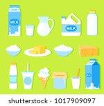 vector illustration set of milk ... | Shutterstock .eps vector #1017909097