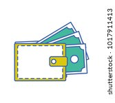 wallet with bill cash money... | Shutterstock .eps vector #1017911413