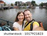 amsterdam tourist selfie  ... | Shutterstock . vector #1017921823