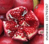 Red Ripen Pomegranates On...