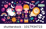 prince and princess with cute... | Shutterstock .eps vector #1017934723