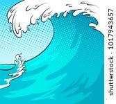 ocean wave color bakground pop...   Shutterstock .eps vector #1017943657
