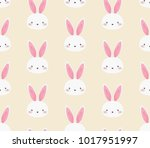 cute bunny rabbit seamless... | Shutterstock .eps vector #1017951997